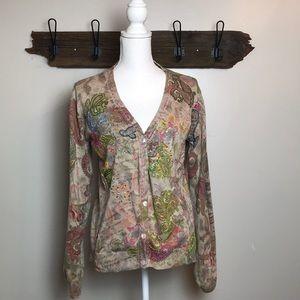 Soft Surroundings Cardigan Beaded Paisley Size M